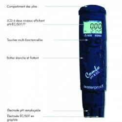 TESTEUR ELECTRONIQUE COMBO PH / SEL / TEMPERATURE